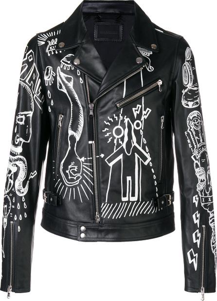 Diesel Black Gold Lora graphic print biker jacket