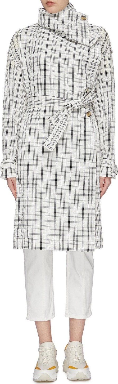 Aalto Drape collar belted tartan plaid trench coat