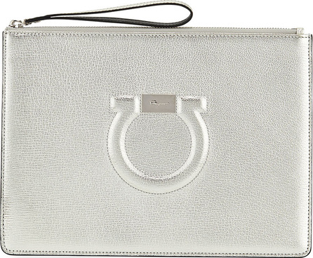 Salvatore Ferragamo Gancio City Metallic Leather Wristlet Pouch Bag