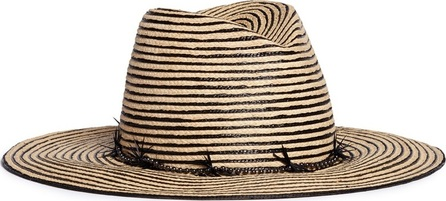 Gigi Burris 'Jeanne' feather trim stripe straw hat