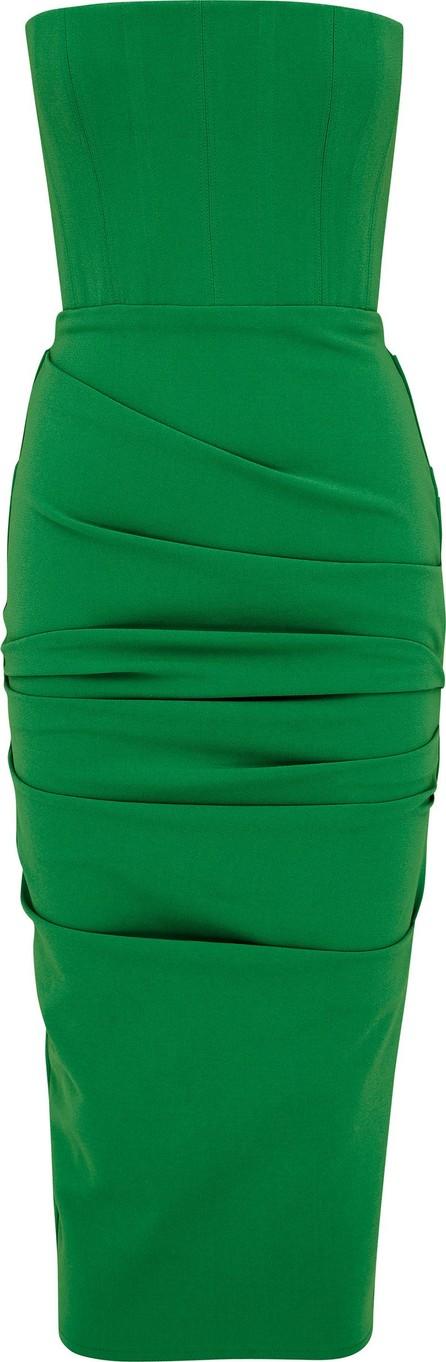 Alex Perry Mena Ruched Stretch-Crepe Midi Dress