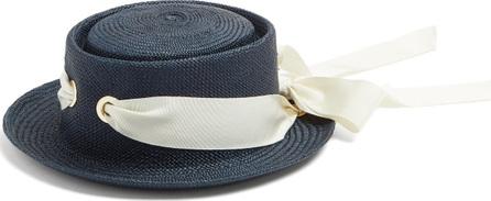 Federica Moretti Faille-ribbon bow-tie straw hat