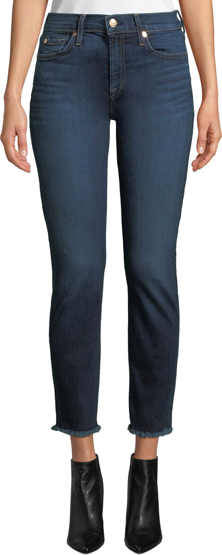7 For All Mankind Roxanne Straight-Leg Ankle Fray-Hem Jeans