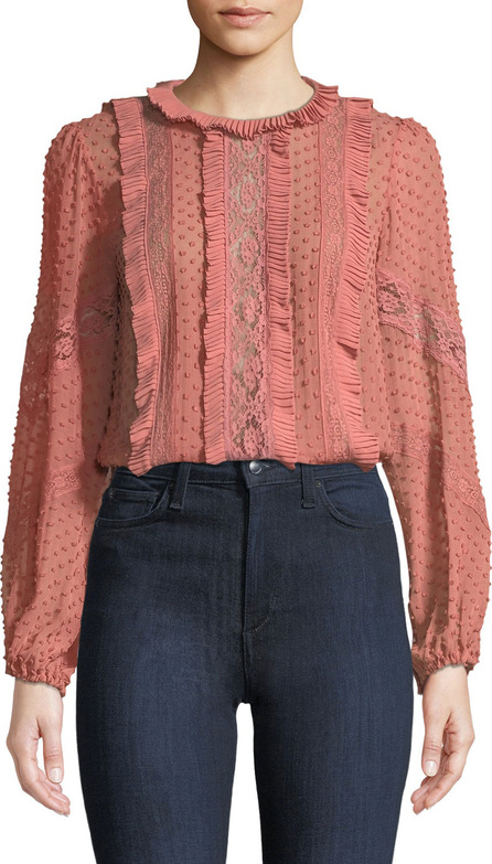 Zimmermann Spliced Lace Embroidered Silk Blouse
