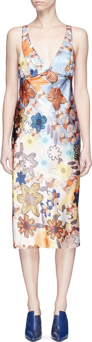 Acne Studios 'Delila' retro floral print satin dress