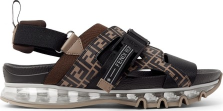 Fendi Logo-Print Leather and Webbing Sandals