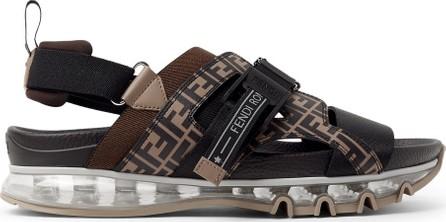 Fendi Logo-Print Leather and Webbing Sandals