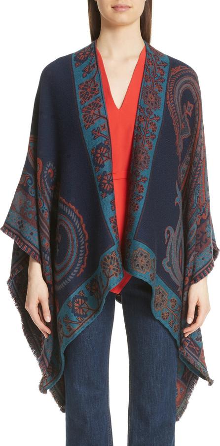Etro Geo & Floral Wool Blend Jacquard Cape