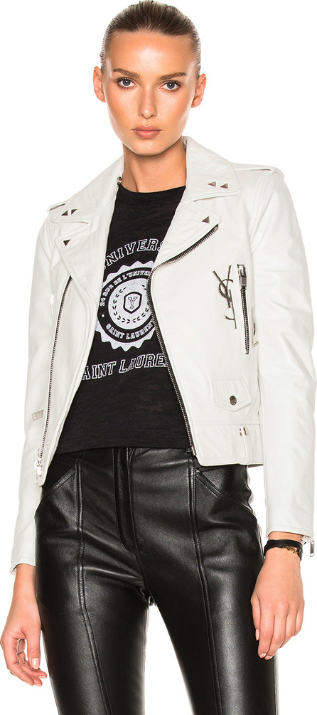 Saint Laurent Leather Jacket with Logo and Brooch