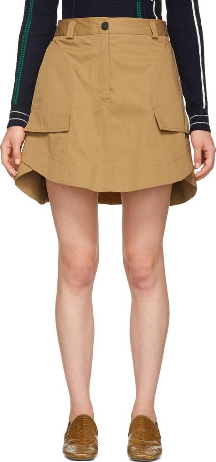 Carven Tan Panelled Miniskirt