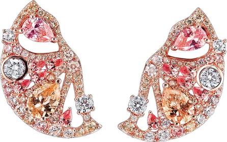Anabela Chan 'Grapefruit Slice' diamond gemstone earrings