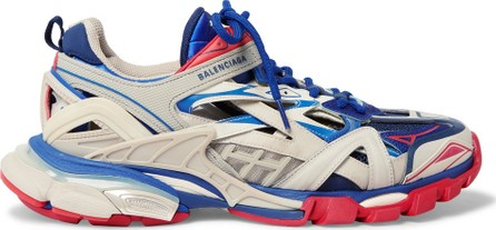 Balenciaga Track 2 Leather, Mesh and Rubber Sneakers