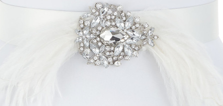 Deborah Drattell Thais Satin Belt with Feathers & Crystals