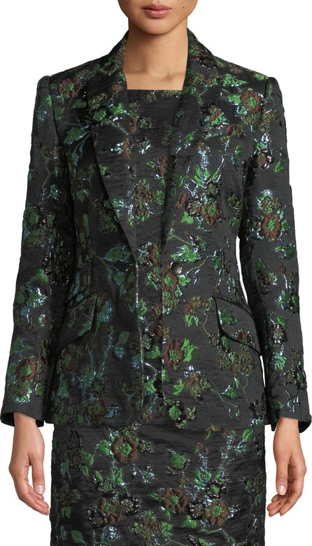 Badgley Mischka Brocade One-Button Blazer