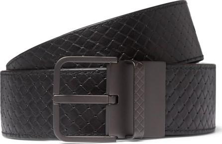 Bottega Veneta 3.5cm Black and Blue Reversible Intrecciato Leather Belt