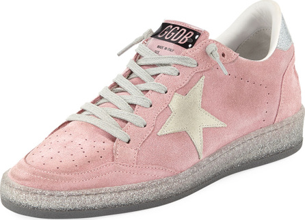 Golden Goose Deluxe Brand Ball Star Suede Low-Top Sneakers with Glitter-Sole