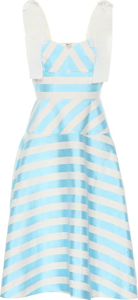 DELPOZO Striped linen-blend midi dress
