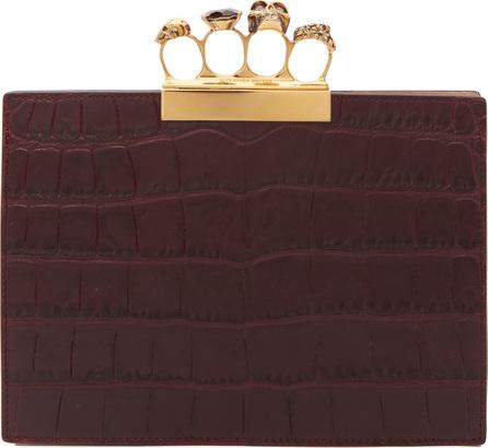 Alexander McQueen Knuckle crocodile-effect leather clutch