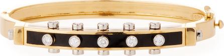 "David Webb ""Motif"" Studlette 18k Gold & Enamel Bangle Bracelet with Platinum-Set Diamonds, Black"