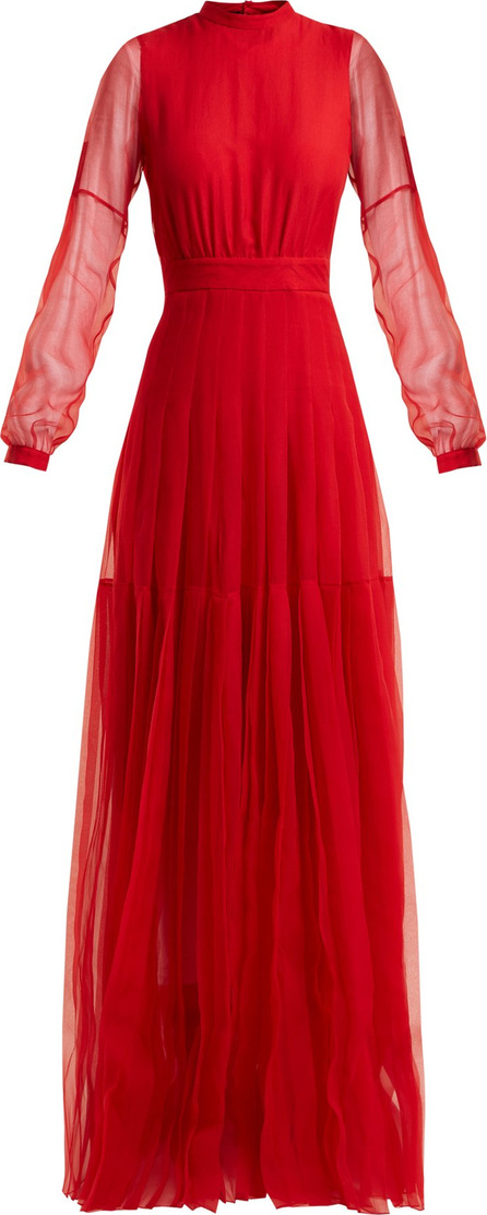 ROCHAS High-neck pleated-skirt silk gown