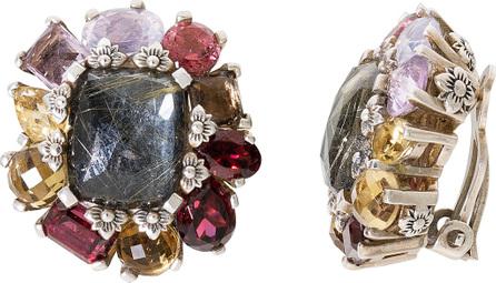 Stephen Dweck Flower Cluster Clip-On Earrings