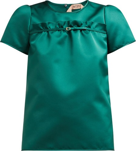 Nº21 Buckle-fastening ruffle satin top