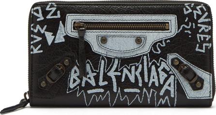 Balenciaga Classic graffiti-print zip-around leather wallet