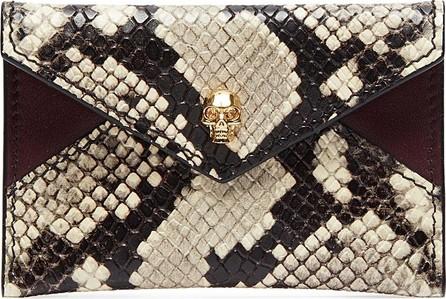 Alexander McQueen Skull python embossed leather envelope card holder