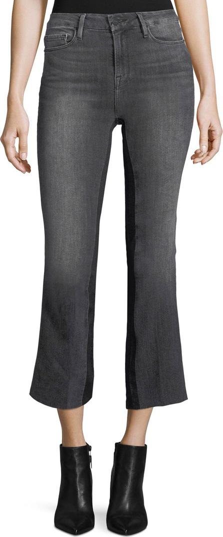 FRAME DENIM Le Crop Mini Boot-Cut Gusset Ankle Jeans w/ Raw-Edge