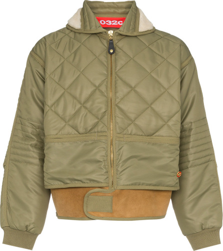 032c Cosmo shearling collar quilted bomber jacket