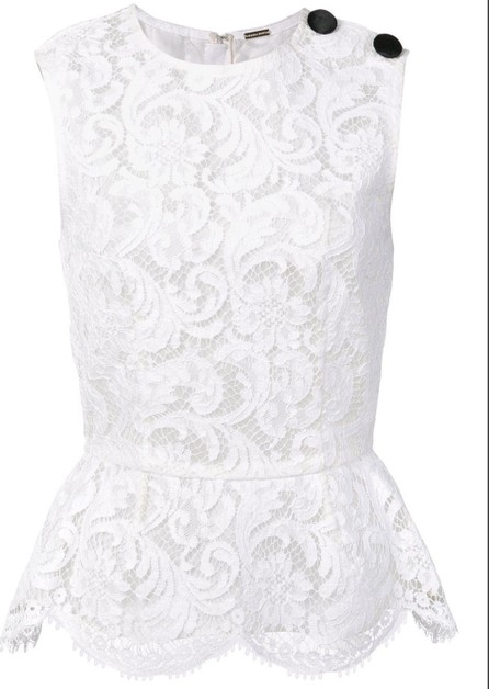 Adam Lippes corded lace peplum top