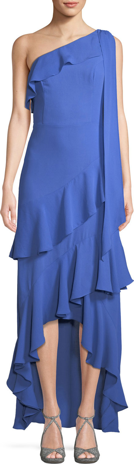 Parker Jordan Long One-Shoulder High-Low Dress