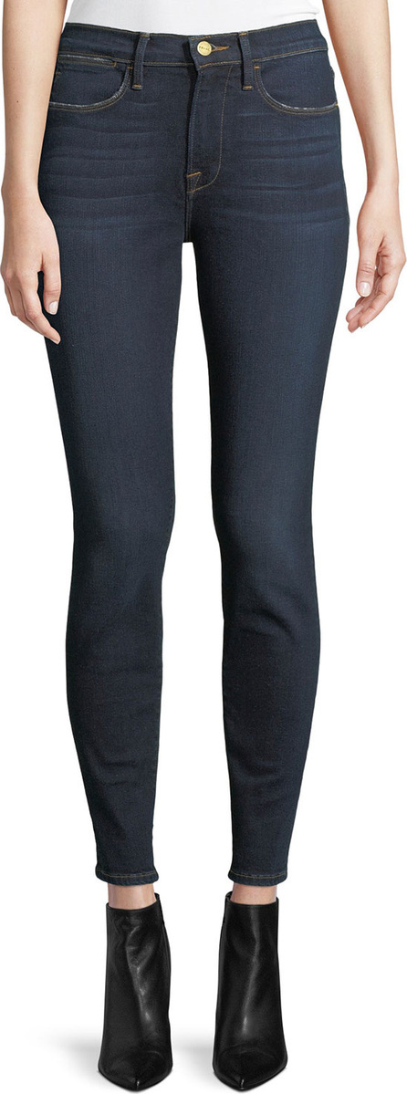 FRAME DENIM Le High Skinny Jeans with Lightly Distressed Pockets
