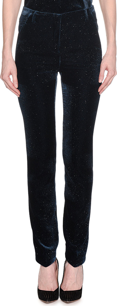 Giorgio Armani Mid-Rise Skinny-Leg Pinstripe Glitter Velvet Pants