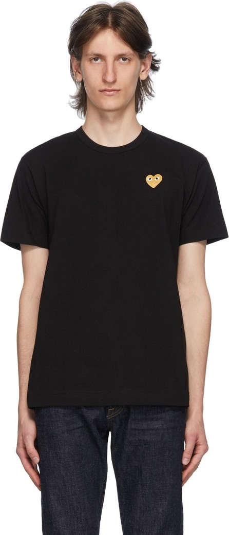 Comme Des Garcons PLAY Black & Gold Heart Patch T-Shirt