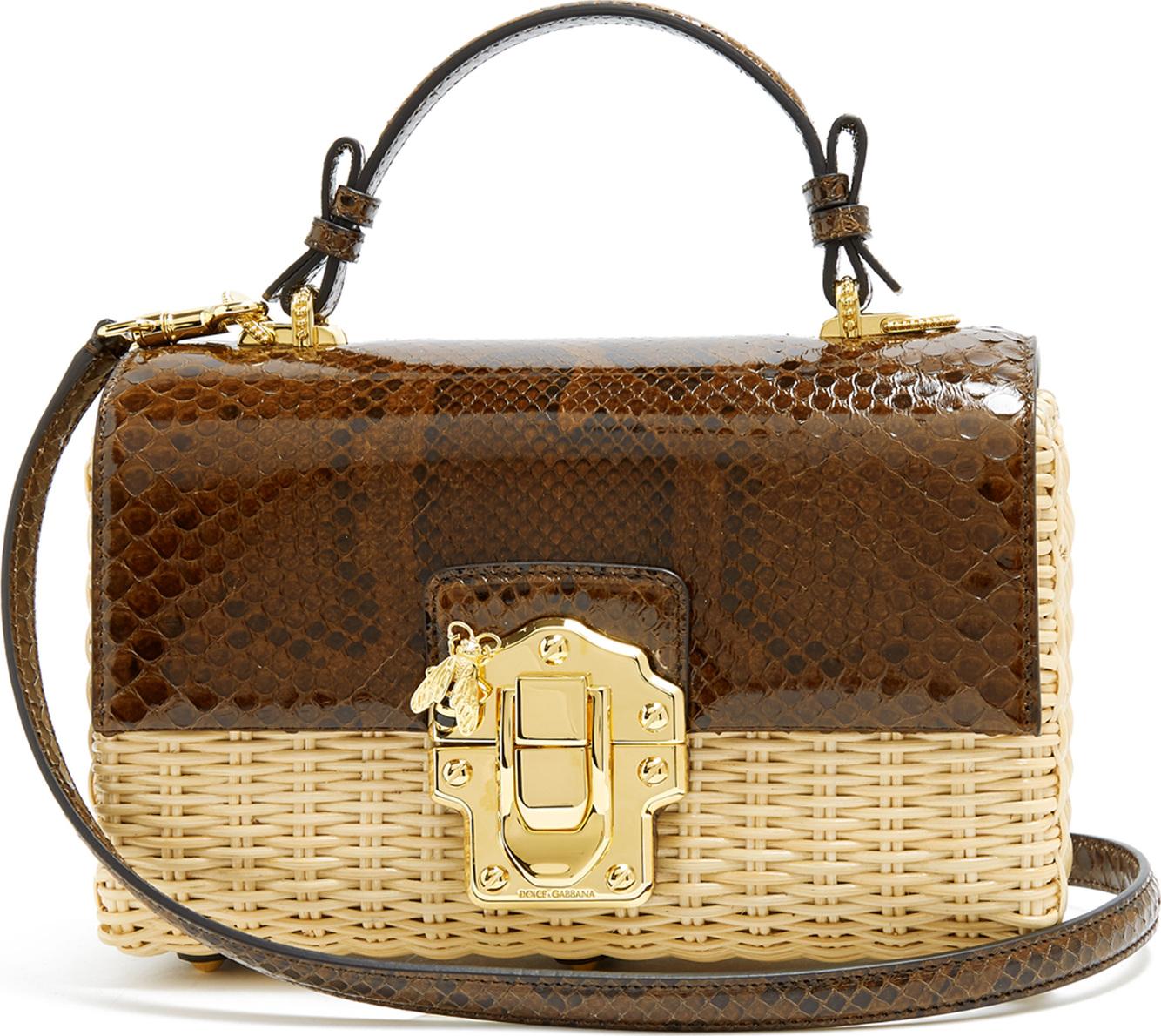 9b2f0d3dc0fc Dolce   Gabbana Lucia python and woven bag - Mkt