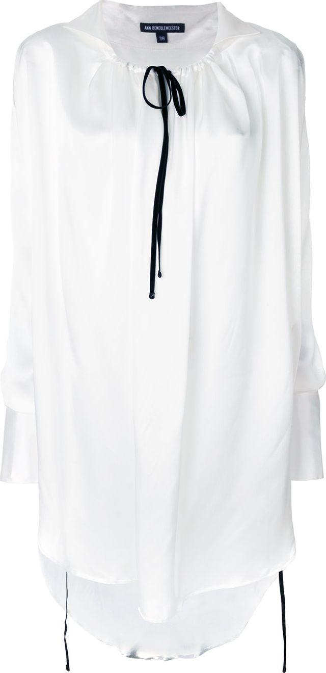 Ann Demeulemeester - drawstring collar long blouse