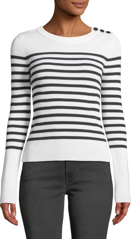 FRAME DENIM Button-Shoulder Striped Merino Wool Sweater
