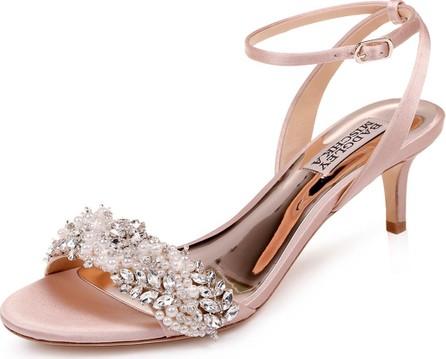 Badgley Mischka Fiona Embellished Satin Kitten-Heel Sandals