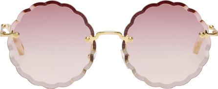 Chloe Gold Scalloped Edge Rimless Sunglasses