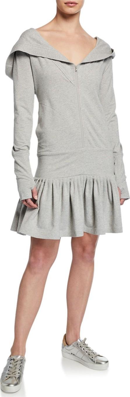Norma Kamali Rara Zip-Hood Long-Sleeve Hoodie Dress