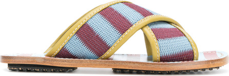 Marni Striped crossover sandals