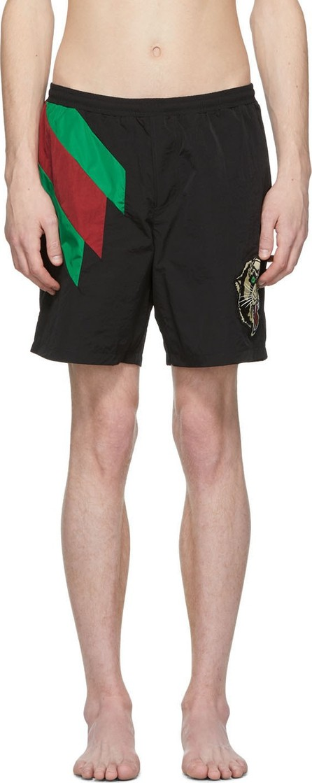Gucci Black Intarsia Tiger Swim Shorts