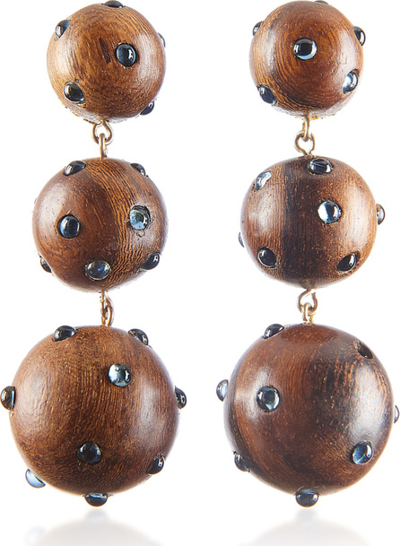 Rebecca de Ravenel Classic Three Drop Dark Wood and Denim Earrings