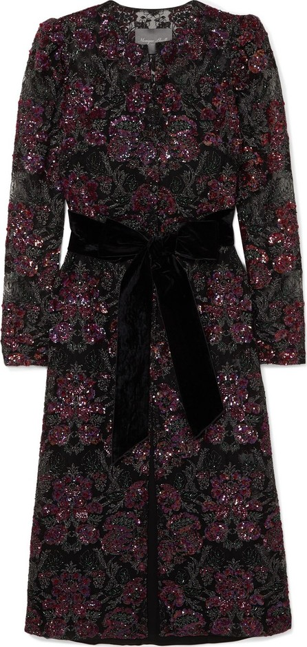 Monique Lhuillier Velvet-trimmed sequined embroidered tulle midi dress