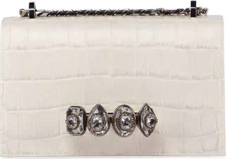 Alexander McQueen Jeweled Embossed Croc Satchel