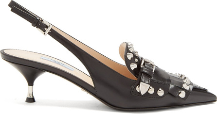 Prada Stud-embellished leather slingback pumps