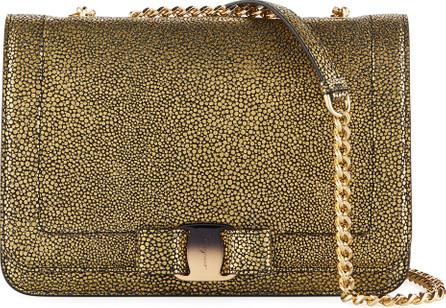Salvatore Ferragamo Vara Rainbow Medium Speckled Metallic Shoulder Bag