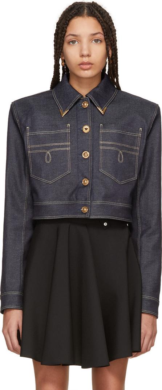 Versace Blue Denim Cropped Jacket