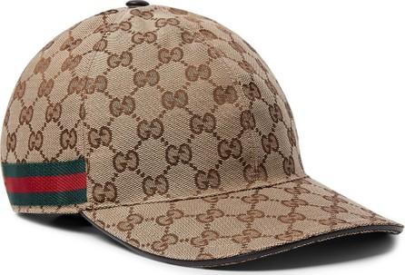 Gucci Webbing-Trimmed Monogrammed Canvas Baseball Cap